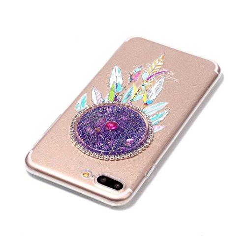 Housse iPhone 7 PLUS OuDu Étui en Glitter Silicone Attrapeur de Rêves Coloré [Housse de Flottant][Pas de Fuite] Coque Transparente Flexible Mince **NEW** Housse Sable Mouvant Bling Étui TPU de Haute Q Attrapeur de Rêves Coloré #1