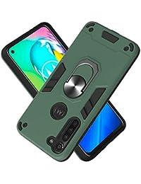 Funda para Motorola Moto G8 Power Soft TPU + Duro PC Doble Parachoques Cubierta a Anillo Soporte con Soporte y Carcasa Desmontable, Funda Protectora Serie Armadura (Verde Oscuro)