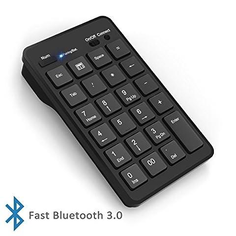 Cateck Bluetooth Clavier numérique externe de 23 touches sans fil pour ordinateur portable ou ordinateur de bureau Windows, Noir