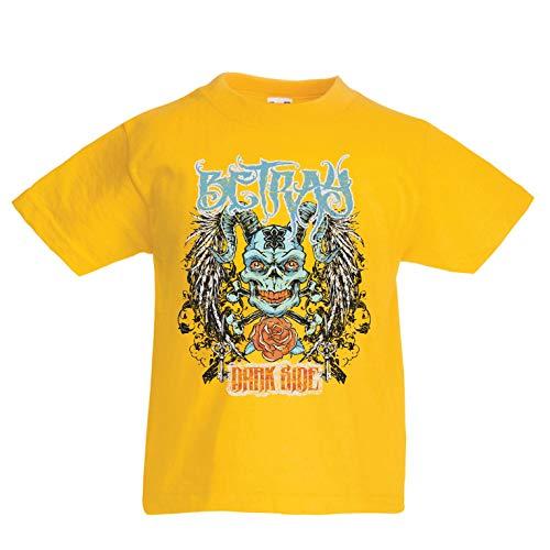 lepni.me Kinder Jungen/Mädchen T-Shirt verrate dunkle Seite - gotischer Teufel, Schädelkunst (1-2 Years Gelb Mehrfarben) (2 Halloween Besetzung Von)