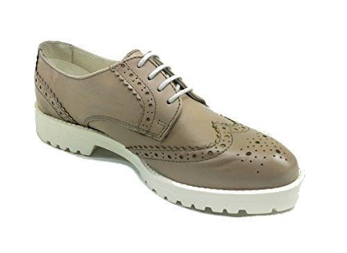 Scarpe donna casual sneakers stile inglese in PELLE/CAMOSCIO fondo gomma 07R18 Beige