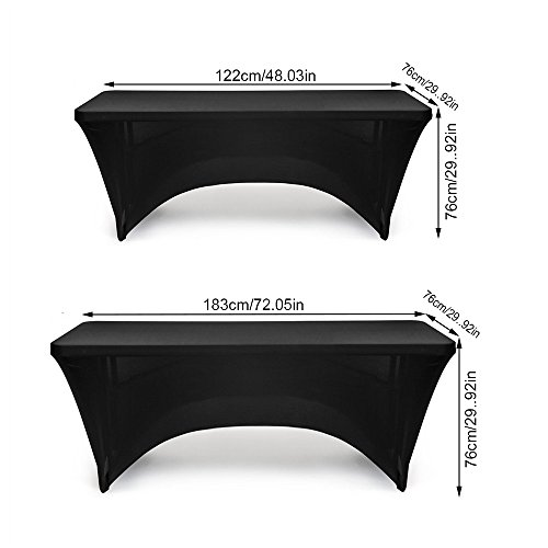 Spandex Table Cover Stretch Tablecloth 4ft Rectangular Fitted Wedding Banquet Trestle Table Black (122CM)