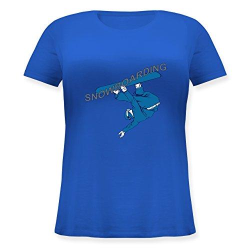 Wintersport - Snowboarding - Lockeres Damen-Shirt in großen Größen mit Rundhalsausschnitt Blau