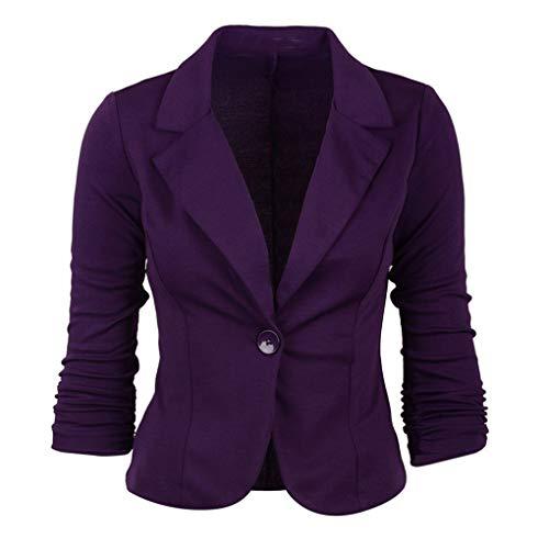 Dorical Blazer Damen Langärmliger Kurzer Taillierter Anzugjacke/Elegant Dünn Bolero Jacke Slim Fit EIN Knopf Tailliert Anzug Trenchcoat...