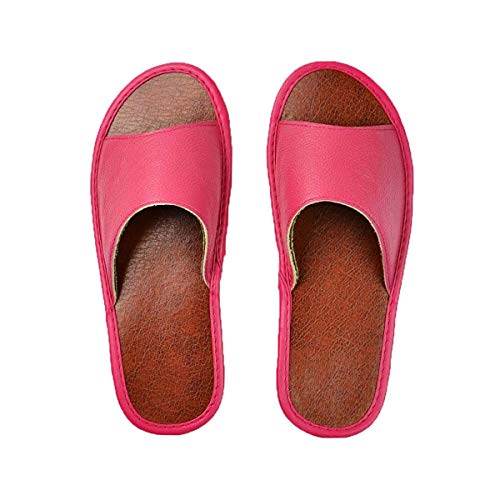 Genuine Cow Leather Slippers Couple Indoor Non-Slip Men Women Home Fashion Casual Single Shoes PVC Soft Soles Spring Summer 515 515 Pink 40 -