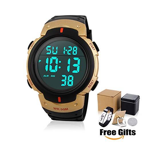 Armbanduhr Digitale Sportuhr für Herren50 Meter Wasserdicht Uhr Digital Led Alarm Kalender Uhren Watches für Männer, modische, große sowie robuste Armbanduhr im militärischen Stil, Multifunktions