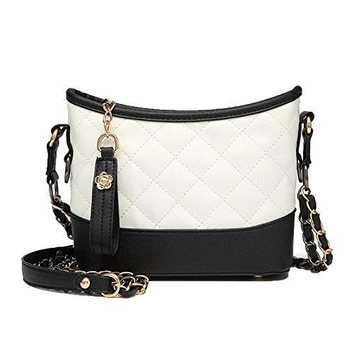 Neue Weibliche Tasche Mit Dem Gleichen Absatz Mode Kleine Weihrauch Wind Lingge Kette Tasche Streunenden Umhängetasche Messenger Bag,Whitewithblack-OneSize (Chanel Handtasche)
