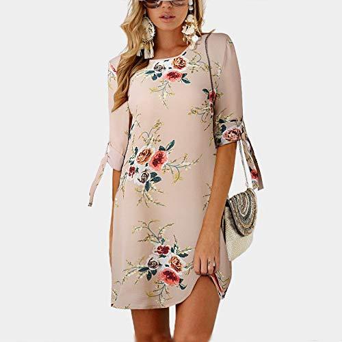 YKDDEE Mode Rock Sommerkleid Frauen Blumendruck Strand Mini Chiffon Kleid Sommerkleid Beiläufige Halbe Hülse Lose Party Kleid Plus Größe 5XL XL Khaki (Khaki Kleid Plus Größe)