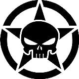 1 x 2 Plott Aufkleber Stern Skull Militar Sticker Fun Gag Death Scary Totenkoft