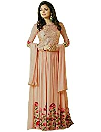 Mira Creation Women's Georget & Santoon Fabric Peach Salwar Suit (Size : Free)