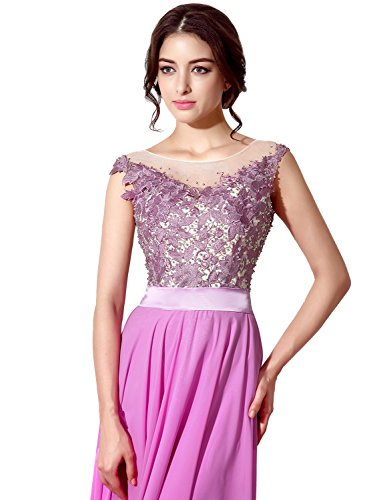 Sarahbridal Damen Lang Chiffon Ballkleid Brautjungfernkleid Perspektive Ausschnitt Abendkleider SSD159 Mint