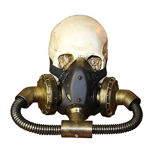 JOYIYUAN Biohazard Steampunk Gasmaske Goggles Spikes Skeleton Krieger Death Mask Masquerade Cosplay Halloween Kostüm Requisiten (Farbe : Bronze)