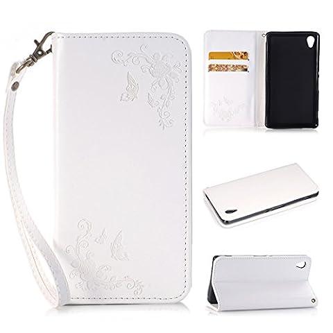 Nancen Coque pour Sony Xperia Z5 (5,2 pouces), Fleur et Papillon Modèle Blanc Étui Housse en Cuir de Luxe Protection Case Flip Cover Avec Fonction de Support et 2 Fentes de Cartes