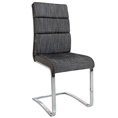 Ergonomischer Wellness-stuhl (Design Freischwinger Stuhl WELLNESS Strukturstoff anthrazit grau Flachstahl Esszimmerstuhl Esszimmer Küchenstuhl)