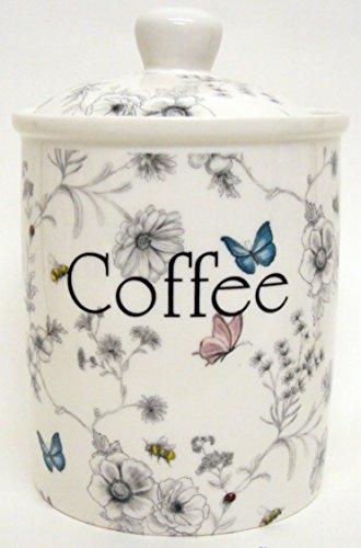 Secret Garden Boîte à café en porcelaine anglaise Scène de Jardin Fleurs Papillons abeilles Bocal décorée à la main au Royaume-Uni.