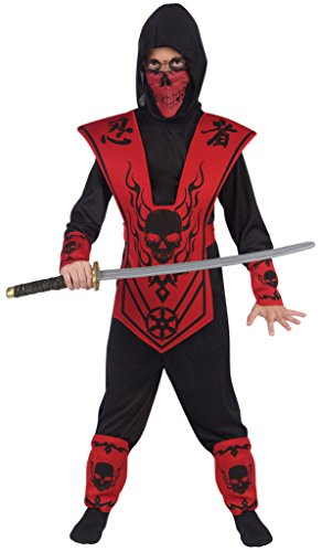 Ninja Red Skull Kostüm (Red Skull Lord Ninja Costume Child: Small 4-6 by Fun)