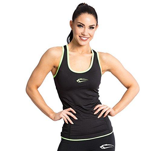 Schnitt Ärmelloses Shirt (SMILODOX Sport Tank Top Damen | Trainingsshirt ideal für Gym Fitness & Workout | Ärmelloses Sport T-Shirt - Bequemer Schnitt - Sporttop- Unterhemd - Trägershirt, Größe:XS, Farbe:Black-Neon Green)