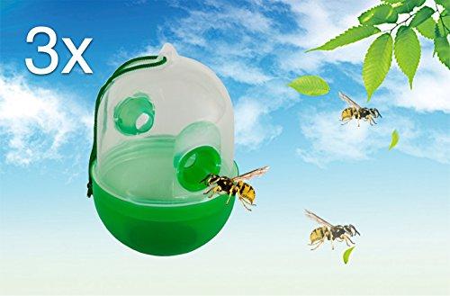 3X Repellente per insetti Trappola per insetti Trappola per vespe/protezione dagli insetti/mosche in plastica e vetro Gift–Repellente per insetti, zanzare, hornisse abwehr Esca permanente per Indoor e Outdoor come giardino, balcone, terrazza