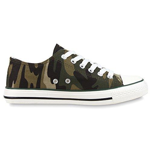 Freizeit top Sportliche Schuhe Unisex Modell Basic Sneakers Low Camouflage Stoffschuhe Verde atYwtq