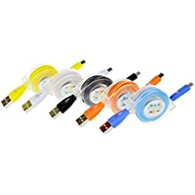 sudroid 5pcs/pack 3Ft 1M Libre de enredos Retractable Colorful Rainbow fluorescentes LED Night Light Crystal Micro USB cargador cable de sincronización de datos para Galaxy S3, S4, Note Mega, HTC One, Huawei (a-package)