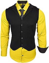 f867e45bff4a Rusty Neal Herren Hemd Weste Krawatte Set Hemden Business Hochzeit Freizeit Slim  Fit