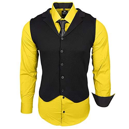 Rusty Neal Herren Hemd Weste Krawatte Set Hemden Business Hochzeit Freizeit Slim Fit, Farbe:Gelb, Größe:5XL