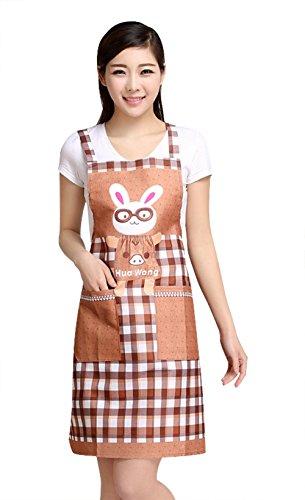 Moolecole Niedliche Schürzen Für Frauen Gläser Kaninchen Küche Restaurant Kuchen Lustige Schürzen Für Mädchen Haushalts Reinigungs Kochen Koch Lätzchen Geschenk Mit Zwei Taschen (Kostüme Koch Kleinkind)