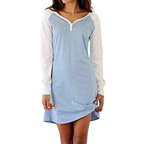 Briskorry Damen V-Ausschnitt Kleider Herbst Langarmkleid Basic Kleider Shirtkleid Freizeitkleid...