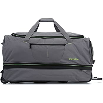 Travelite Wheeled Duffle Basics 70cm in grey/green Sac de voyage, 70 cm, 98 liters, Multicolore (Grey/green)