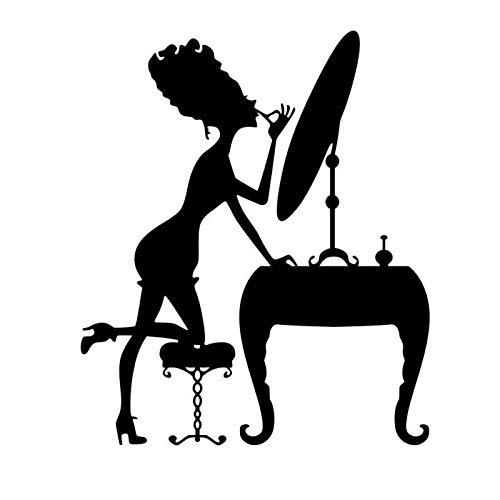 ljmljm Schwarz 49x57cm Make-up Spiegel Mädchen Schminktisch Geschnitzte dekorative Wandaufkleber können Größe angepasst Werden - Große Satin Motorhaube