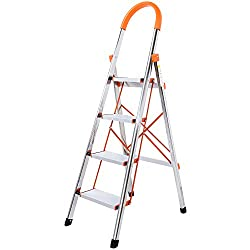 WolfWise 4-Step Stool Ladder Portable Folding Anti-Slip with Rubber Hand Grip 330lbs Capacity,Silver Household Stepladders
