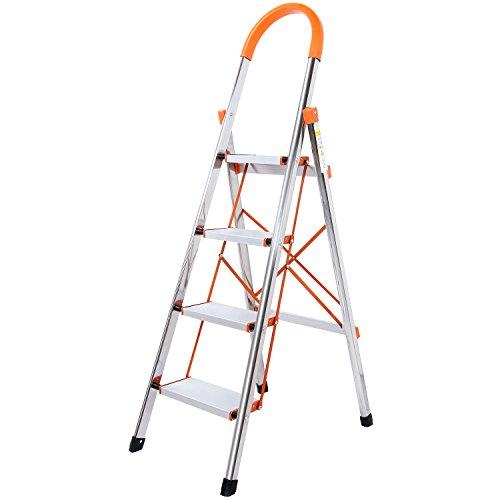 WolfWise Trittleiter, Alu Sicherheits Stehleiter,4 Stufen, Tragbare Faltet Anti-Slip Mit Gummihandgriff belastbar bis 150 kg, Silber Haushalt Stufenleitern