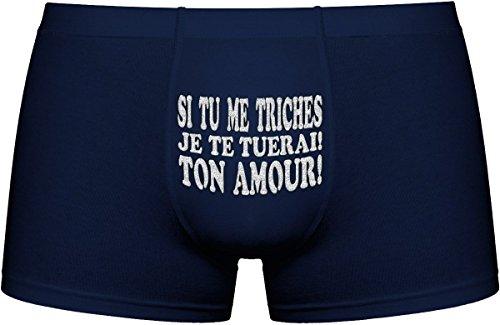 Les boxers pour hommes | Si tu me triches, je te tuerai! Ton amour | Cadeau anniversaire unique et drôle. Article de nouveauté. Idée cadeau