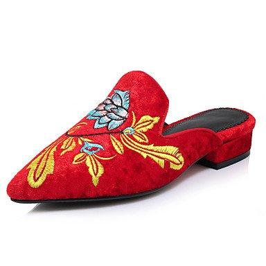 LvYuan Damen-Sandalen-Outddor Kleid Lässig-Kaschmir-Blockabsatz-Bestickte Schuhe-Schwarz Grün Rot Black