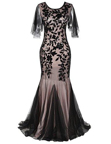 Kayamiya 1920er Jahre lange Maxi Prom Kleider Pailletten Meerjungfrau Brautjungfer formale Abendkleid S schwarz - Lange Prom Kleider Bling