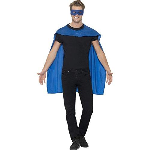 Superheldenumhang & Maske Superheld Kostüm blau Superman Umhang und Augenmaske Helden Kostüm Erwachsene Superhero Karnevalskostüm Superhelden Cape Outfit
