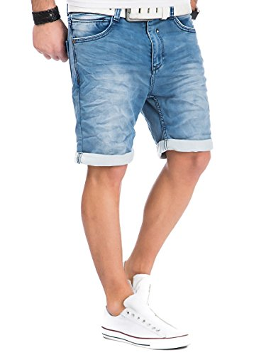 Urban Surface Jogg Jeans Shorts kurze Hose Bermuda Herren Denim Sweatpants Joggjeans Vintage Used Look Dark Blue - H-6KD11