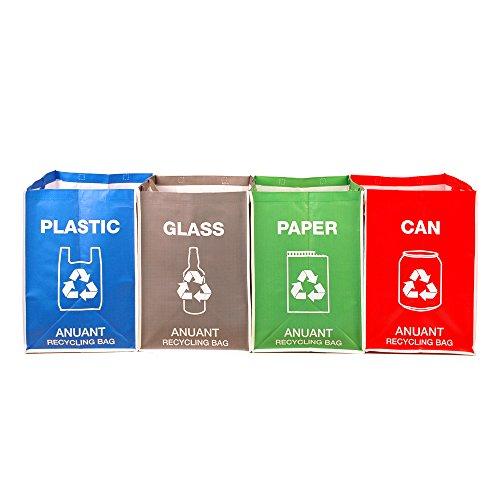 Separate reciclaje residuos bolsas de basura para cocina oficina en casa–Reciclar basura clasificación cajas organizador impermeable cestas compartimiento contenedor bolsas de gran tamaño 4unidades