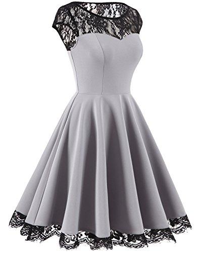 Homrain Damen 1950er Elegant Spitzenkleid Rundhals knielang festlich Cocktail Abendkleid Grey