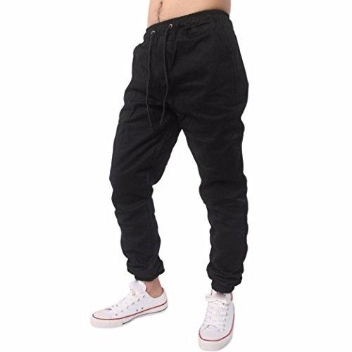 Herren Hose Xinan Herrenhosen Jogging Hose Casual Jogger Sportwear Baggy Bequeme Pants Sportwear Männer Outdoor Spleißen Kordelzug Hosen (L, Schwarze) (Bequeme Woven Shorts)