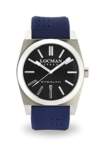 Locman Stealth/Men's Watch/Dark Grey dial/Steel case and Titanium/Blue Silicone Strap/ref. 020100GYNNKSIB