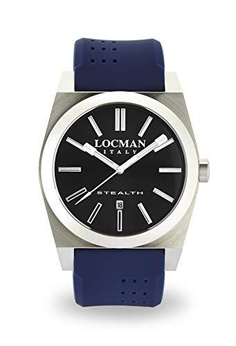 Locman Stealth/Montre Homme/Cadran Gris foncé/Caisse Acier et Titane/Bracelet Silicone Bleu/Ref. 020100gynnksib