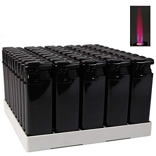 Bulentini Turbo Sturmfeuerzeug Black ZS 1-10, ROTE Turbo Flamme Gas Feuerzeug - Jet Flamme Turbofeuerzeug Auswahl 1-50 Stück (50x Schwarz (50 Feuerzeuge))