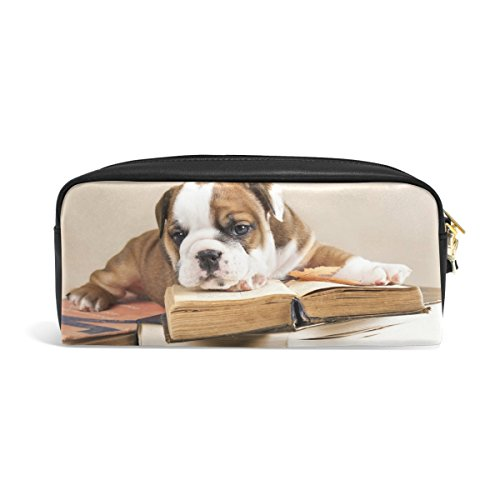 Domoko Funny Bulldog Puppy Hund mit Buch PU Leder Pouch Federmappe Stift Etui Make-up Kosmetiktasche Schule Tasche Bulldog-handy-fall