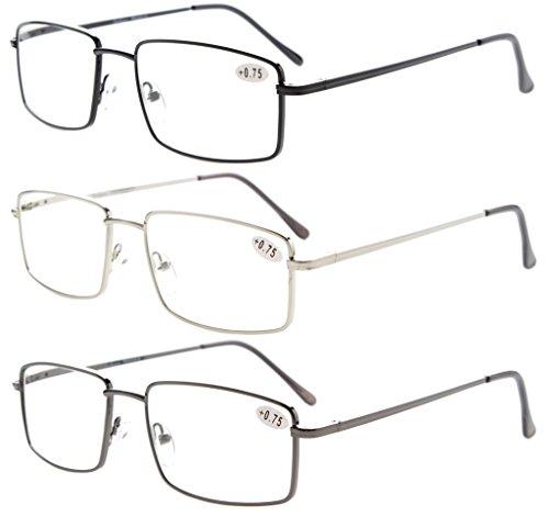 d6d026f4c41 3-Pack Eyekepper Readers Rectangular Spring Temple Large Metal Reading  Glasses Men +0.5