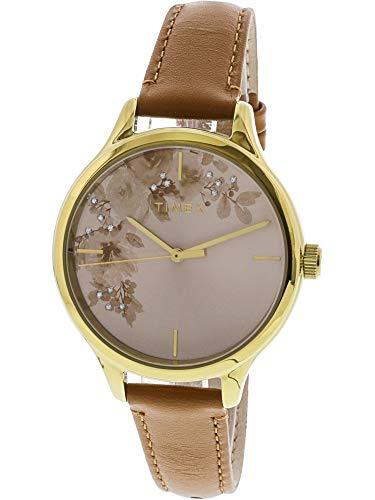 Timex Women's Crystal Bloom TW2R66900 Gold Leather Japanese Quartz Fashion Watch (Womens Gold Watch Timex)