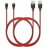 Anker PowerLine+ Lightning Kabel [2-Pack] (1,8m) iPhone Kabel [Aramidfasern & Doppleter Nylonummantelung] für das iPhone 7, iPad und mehr (Rot)