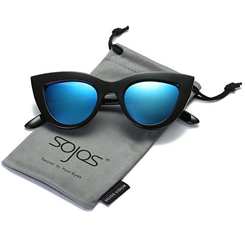SOJOS Moda Clásico Celebridad Negrita Grueso Mujer Gafas de Sol Gato Gafas de Sol SJ2939 con Marco Negro/Lente Blu