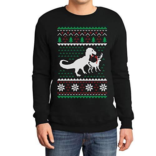 shirtgeil regalo di natale t-rex vs. renna ugly sweater felpa/maglione da uomo medium nero