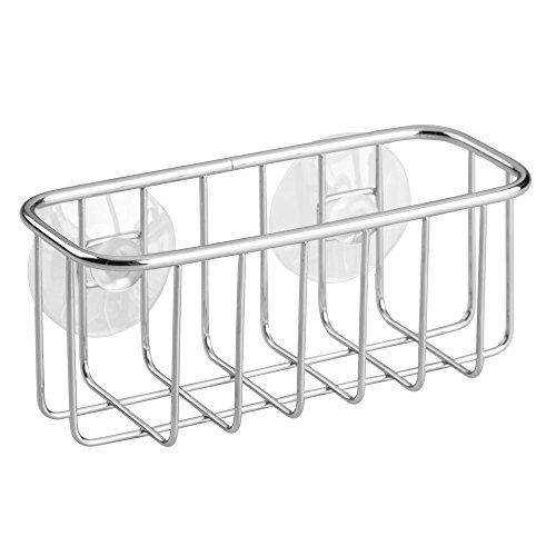 InterDesign-Portaoggetti per lavello cucina, rotondo, a ventosa, per spugne, scrubber, sapone, in acciaio INOX, cromato, 4
